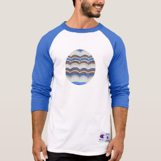 Men's 3/4 sleeve T-shirt with blue mosaic