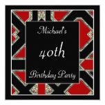 Men's 40th birthday Party  Black Red Art Deco 13 Cm X 13 Cm Square Invitation Card