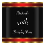 Men's 40th birthday Party  Black Red Art Deco Personalized Invites