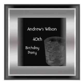 Mens 40th Birthday Party Elegant Black Silver Man Card
