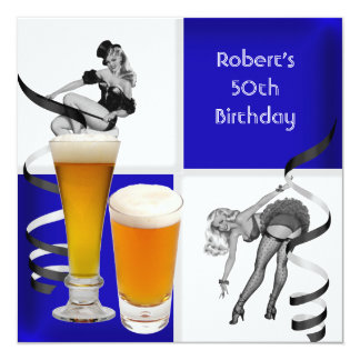 Mens 50th Birthday Blue Check Retro Girl Beer 13 Cm X 13 Cm Square Invitation Card