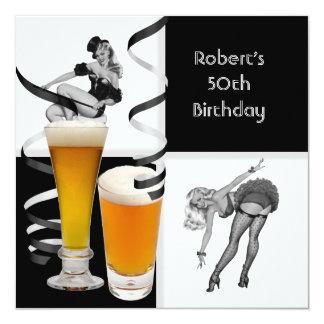 Mens 50th Birthday Check Retro Girl PINUP Beer 13 Cm X 13 Cm Square Invitation Card