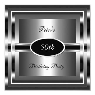 Mens  50th Birthday Party Black  Silver 13 Cm X 13 Cm Square Invitation Card