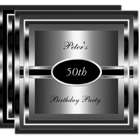 Mens  50th Birthday Party Black  Silver Card