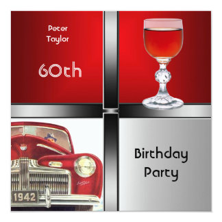 Mens 60th Birthday Party Red Metal Silver Red Car 13 Cm X 13 Cm Square Invitation Card