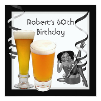 Mens 60th Birthday Party Retro Girl PINUP Beer Card