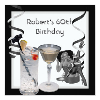 Mens 60th Birthday Party Retro Girl PINUP Drinks Card