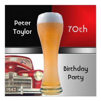 Mens 70th Birthday Party Red Retro Red Car Beer 13 Cm X 13 Cm Square Invitation Card