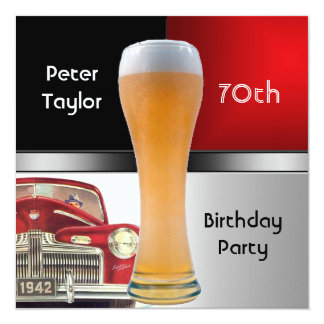 """Mens 70th Birthday Party Red Retro Red Car Beer 5.25"""" Square Invitation Card"""