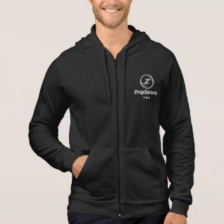 Men's American Apparel Zip Up Hoddie, White Logo Hoodie