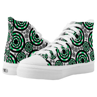 Mens And Womens Retro Green Printed Shoes