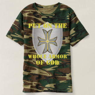 Mens Armor of God Bible Verse Cross Camo T-Shirt