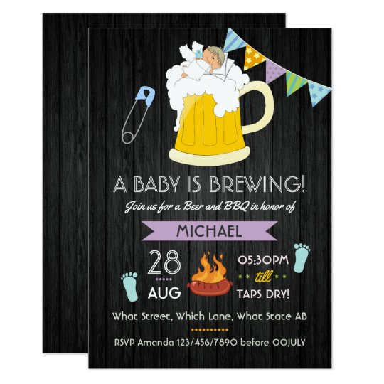 Men's Baby Shower Dad-chelor Beer and BBQ Party Card