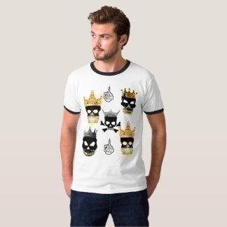 Men's Basic Black Skull&Gold Crown Ringer T-Shirt