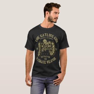 Men's Basic Dark T-Shirt Gatling Gun Design