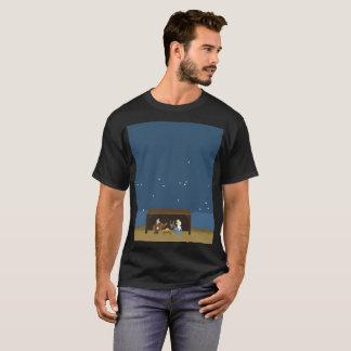 Men's Basic Dark T-Shirt Nativity Scene