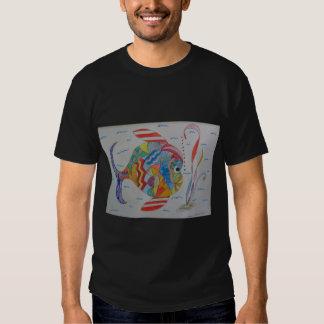 Men's Basic dark T-Shirt w/colored fish