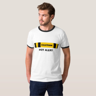 Men's Basic Ringer T-Shirt Caution Hot alert