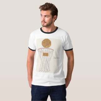 Men's Basic Ringer T-Shirt with basketball