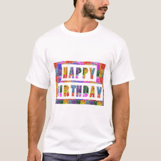 Men's Basic T-Shirt 17 color choices BIRTHDAY TEXT