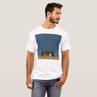 Men's Basic T-Shirt 8-Bit Nativity