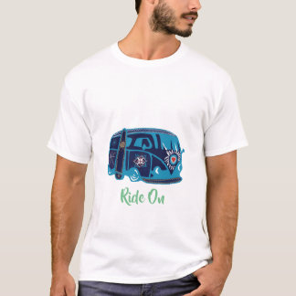 Men's Basic T-Shirt, White Ride On Van Hippie T-Shirt