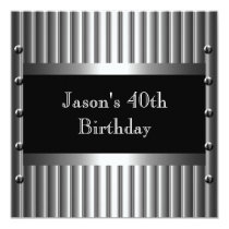 Mens Birthday Party Chrome Look Screws 40th 13 Cm X 13 Cm Square Invitation Card