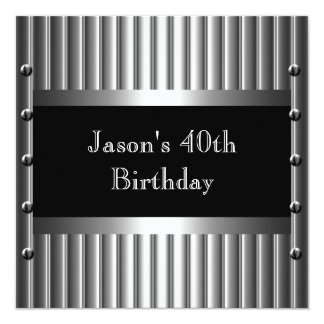 Mens Birthday Party Chrome Look Screws 40th 13 Cm X 13 Cm Square Invitation Card