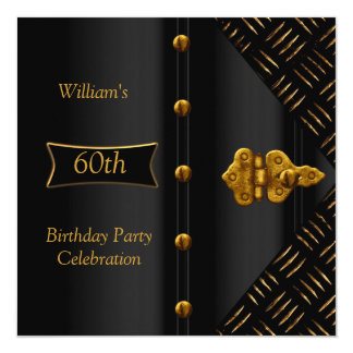 "Men's Birthday Party Elegant Rust Gold Black 5.25"" Square Invitation Card"
