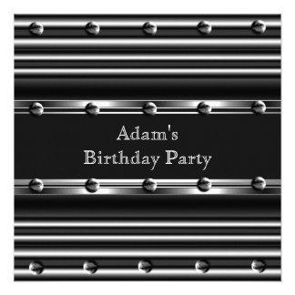 Mens Birthday Party Silver Metal Black Mans Custom Invites