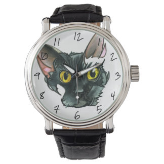 Men's Black Cat Vintage Black Leather Strap Watch