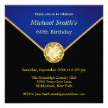 Mens Black Gold Blue Elegant Birthday Invitations