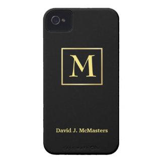 Men's Black Gold Monogram Blackberry Case