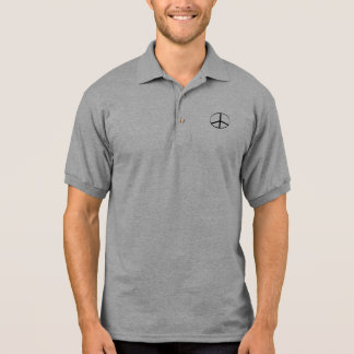 Mens Black Peace Sign Polo