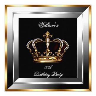 Men's Black Silver Gold Birthday Prince King 13 Cm X 13 Cm Square Invitation Card