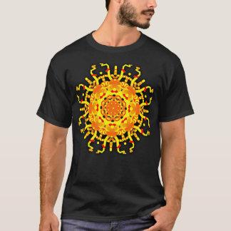 *~* Men's Black T-Shirt Aztec Style Mandala Yellow