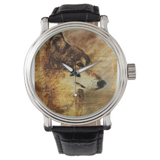 Men's Black Watch with Timber Wolf Illustration