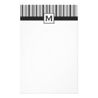 Mens Black, White and Grey Stripes & Monogram Customised Stationery