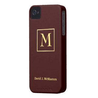 Men's Brown Gold Monogram Blackberry Case