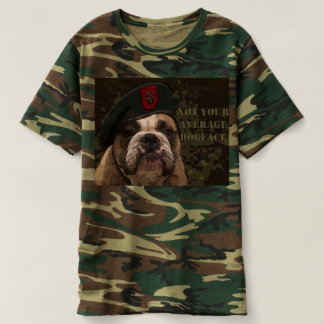 Mens Camo T-Shirt with Bull Dog Green Beret Logo