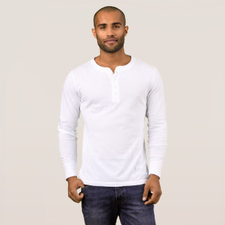 Men's Canvas Henley Long Sleeve Shirt, White T-Shirt