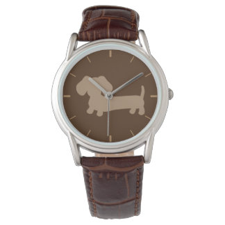 Mens Chocolate Brown Dachshund Leather Band Watch