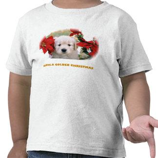 Mens Christmas Golden Retriever Puppy Shirt