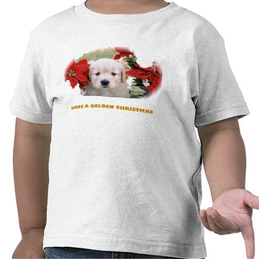 Mens' Christmas Golden Retriever Puppy Shirt