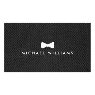 Men's Classic Bow Tie Logo on Black Herringbone Pack Of Standard Business Cards