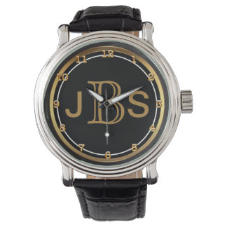 Men's Classy Black Gold | Masculine Monogram Watch