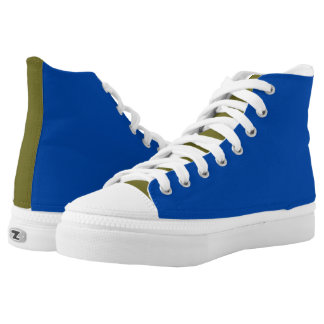 Men's Cobalt And Olive Printed Shoes