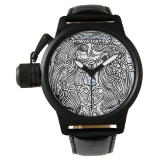 Men's Crown Protector Black Leather Strap Watch