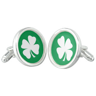 Men's Cufflinks | Green Four Leaf Clover