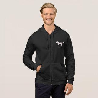 Men's Dark Fleece Zip Hoodie Black Lab Silhouette